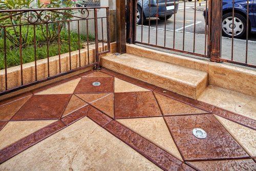 stamped concrete area